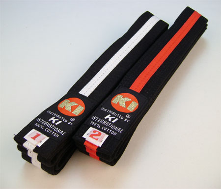 Black belts with Red stripe for Judo or Karate
