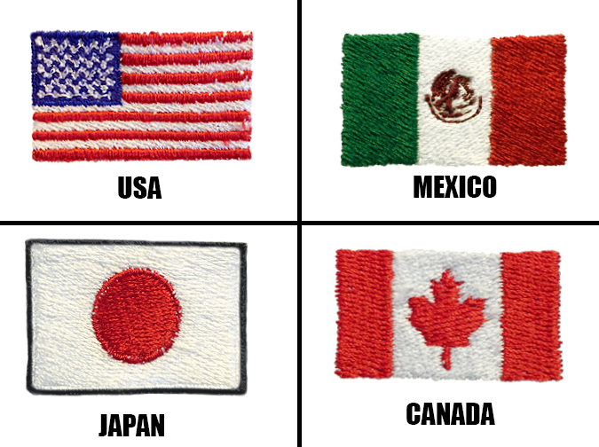 Country flags (USA, Mexico, Japan, Canada)