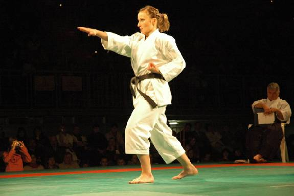 KI MUGEN - actual customer wearing yellow label white karate uniform - Karate gi, KI MUGEN