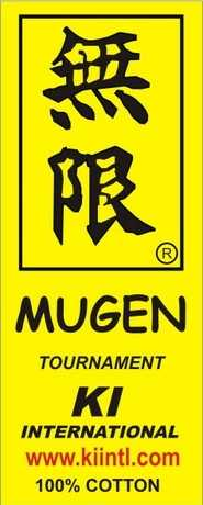 Yellow Mugen label, Karate gi - karate uniform label