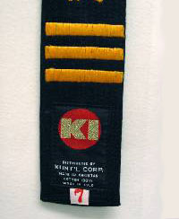 KI black belt embroidery 3 dan yellow gold lines