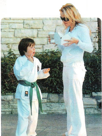 Pamela Anderson's son wear KI Karate uniforms & belts