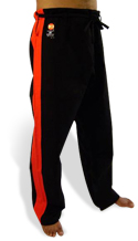 13.8 oz. Black Heavy Weight Pants with Red Stripe